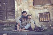 Homeless family — Stock Photo