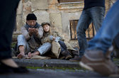 Homeless family — Stock Photo