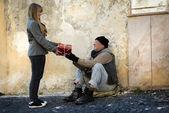 Gift for homeless — Stock Photo