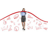 Woman with statistics curve — Stock Photo