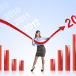 vrouw met statistieken curve — Stockfoto