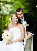 Wedding outdoor portraits — Stock Photo