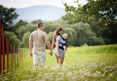 Family on the farm — Stock Photo