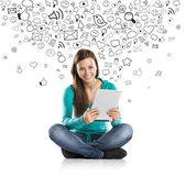 Girl with tablet — Stock Photo