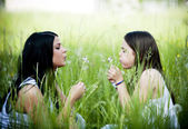 Mother and daughter in the park — Stok fotoğraf