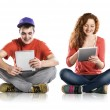 Man and woman with tablet — Stock Photo #23894419