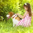 Little girl with dog — Stock Photo