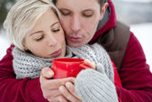 Couple in winter — Stock Photo