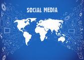 Illustrazione di media sociali — Vettoriale Stock