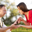 Picture of couple with wedding ring — Stock Photo