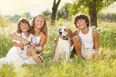 Happy kids with dog — Stock Photo