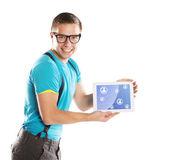 Jovem com tablet — Fotografia Stock