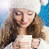 Beautiful woman in warm sweater — Stock Photo