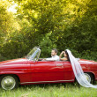 Wedding car with bride and groom — Stock Photo #35289021