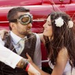Wedding car with bride and groom — Stock Photo #35302007
