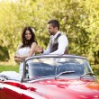Wedding car with bride and groom — Stock Photo #35302531