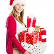 Beautiful christmas woman with gift — 图库照片