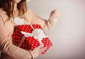 Gift box in hand — Stock Photo