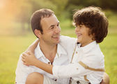 Father and son in nature — Stock Photo