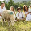 Family feeding animal on the farm — Stock Photo