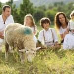 Family feeding animal on the farm — Stock Photo #36987407