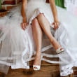 Detail of bridal legs with shoes — Stock Photo