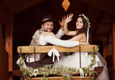Bride and groom country style wedding — Stock Photo