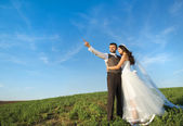 Newly married couple portrait with blue sky — Stockfoto