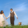Bride and groom with dog — Stock Photo #38650809