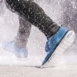 Man running in winter — Stock Photo