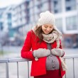 Winter portrait of beautiful pregnant woman — Stock Photo