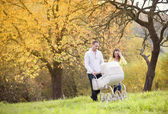 Family with vintage pram relaxing in nature — Stock Photo