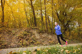 Active and sporty woman runner in autumn nature — ストック写真