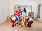 Movers in new house — Stock Photo