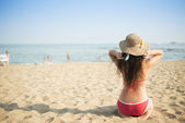 Woman on the summer beach — Stock Photo