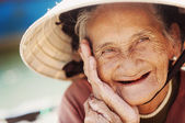Old and beautiful smiling senior woman. — Stock Photo