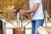 Man chopping wood — Stock Photo