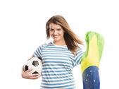 Female soccer fan — Stock Photo