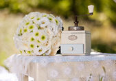 Wedding bouquet with coffee mill — Stock Photo