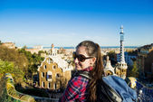 Woman in Parc Guell — Stock Photo