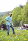 Man working with hoe — Stockfoto