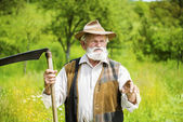 Farmer with scythe — Stock Photo