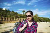 Turist med ryggsäck — Stockfoto
