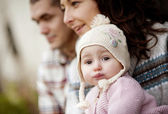Happy family in autum nature — Stock Photo