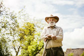 Farmer having break — Stock Photo