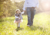Father during walk with daughter — Stock Photo