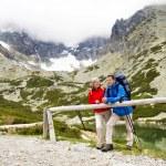 Couple enjoy the view at mountains — Stock Photo #48399145