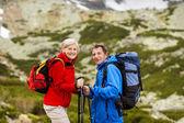 Senior couple at mountains — Foto de Stock