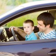 Father with son driving car — Stock Photo #48498117