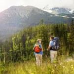 Tourist couple at mountains — Stock Photo #48521511